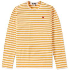 Comme des Garcons Play Little Red Heart Long Sleeve Striped Tee ($125) ❤ liked on Polyvore featuring tops, t-shirts, stripe t shirt, stripe long sleeve tee, yellow tee, striped long sleeve tee and striped tee