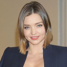 Miranda Kerr Demonstrates 5 Gorgeous Ways to Style Short Hair - Straight and Center-Parted  - from InStyle.com