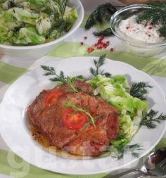 Lajos Mari konyhája - Fűszeres tarja kapros káposztával Pork, Beef, Dishes, Kale Stir Fry, Meat, Pigs, Tablewares, Flatware, Ox