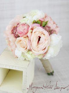 Morgann Hill Designs: Silk Bridesmaid Bouquet Peony Peonies Roses Ranunc...