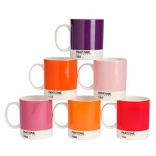 Sip in style with these PANTONE-inspired mugs. Made from fine bone china, each set contains six colorful mugs. Dishwasher safe and microwave proof.