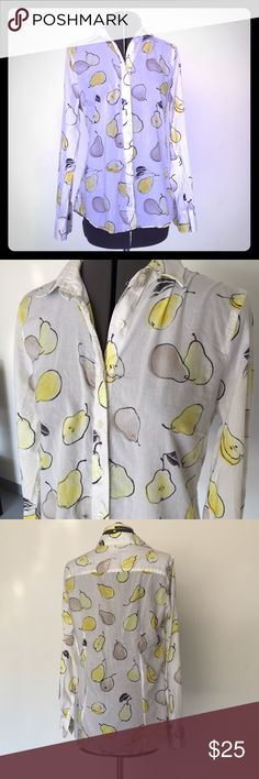 """J Crew Pear Print """"the Perfect Shirt"""" Button Down J Crew Pear Print """"the Perfect Shirt"""" Button Down. Material is thin cotton and see through. 100% cotton. Size M measures flat: 15"""" across shoulders, 19"""" across chest, 26"""" long, 24"""" sleeve. 725/FMe/072716 J. Crew Tops Button Down Shirts"""
