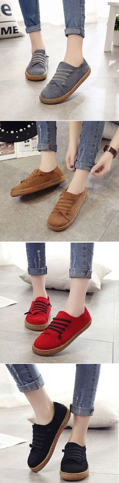 US$12.98 Suede Slip On Soft Loafers Lazy Casual Flat Shoes For Women