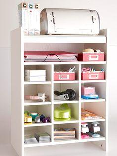 Shoe cubby = craft storage