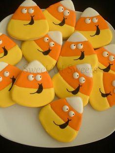 Halloween cookies - candy corn cookies - fall cookies - 1 dozen decorated cookie…
