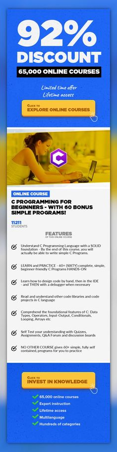 C Programming For Beginners - with 60 BONUS Simple Programs! Programming Languages, Development #onlinecourses #skillsactivities #jobskillsLearn the C Programming language FAST - onscreen step by step, then IDE, then debugger. Designed for TECHNICAL INTERVIEW This  course is the FIRST, ONLY, and most comprehensive CPROGRAMMING  BEGINNER'S course that brings the THREE ASPECTS TOGETHER - 1) On s...