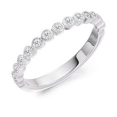 This half eternity ring has mill grain rubover settings to give that vintage look. This can be made in platinum, palladium, yellow gold, rose gold and white gold. White Gold Eternity Rings, Half Eternity Ring, Eternity Ring Diamond, Diamond Wedding Rings, White Gold Rings, Elegant Wedding Rings, Wedding Ring Designs, Wedding Rings Vintage, Diamond Cuts