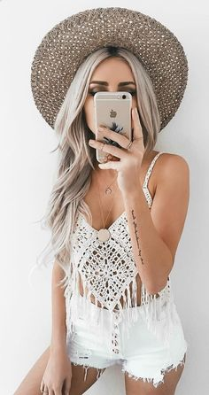 #spring #outfits Beach Hat + White Crochet Lace Fringe Top + White Ripped Denim Short