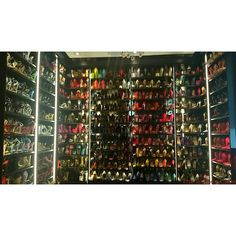 """""""Requested photo- My shoe closet aka/ The bitch cave ..I call it Heaven! #shoefreak  Thx to @njstacy from California Closets!"""""""