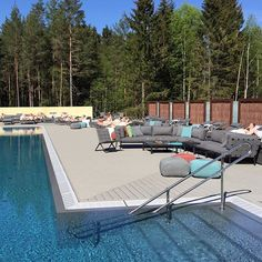The sun is shining on The Well Spa in Kolbotn, Oslo and Cane-line's outdoor furniture ☀️ Fence Around Pool, Spa Images, Hidden Pool, Outdoor Life, Outdoor Decor, The Great Escape, Pool Spa, In Ground Pools, Pool Designs