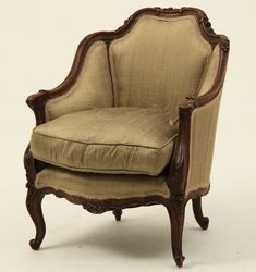 """LOUIS XV STYLE CARVED WALNUT BERGERE,19TH C.;  NICELY UPHOLSTERED;  31""""H X 25.5""""W X 22""""D"""