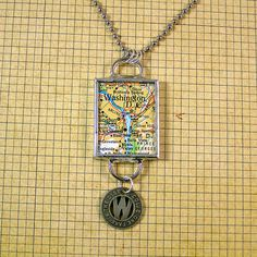 Washington DC Map and Coin Pendant Necklace by XOHandworks