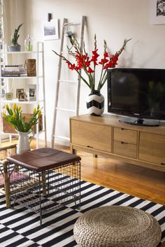Ladder shelving l bamboo ladder l The Eclectic Creative Studio living room