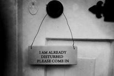 I am already disturbed, please come in
