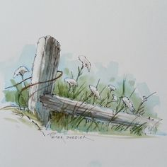 https://flic.kr/p/KDXiRj | Line and Wash Watercolor of a Fence post and…