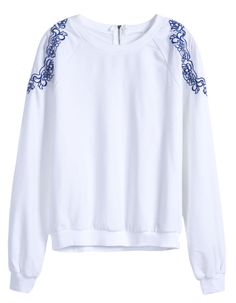 White Long Sleeve Embroidery Loose Sweatshirt - Sheinside.com