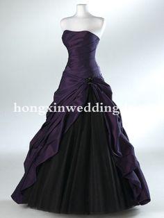 Wonderful Elegant Strapless Asymmetric Purple Pleats Ball Gown Taffeta Floor-Length Prom Evening Dresses