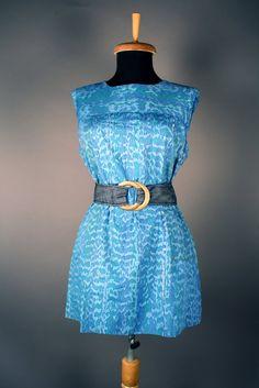 Lloyd Kiva New sleeveless mini-dress with blue water design, ca. 1950s.