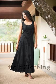 Black Midnight Ena Empire Waist Satin Lace Renaissance Gothic Sun Dress - Black - Shop by Color - Dresses