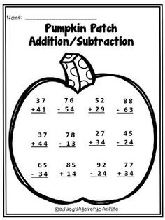 math worksheet : free autumn addition activity  this is a free fall math worksheet  : Free Halloween Math Worksheets