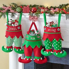 A Personal Creations Exclusive! Santa won't have trouble finding these elf-tacular stockings to fill with treats and toys!