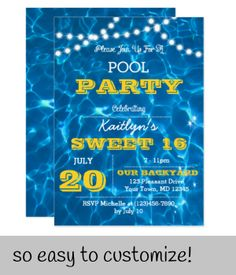 Shop Pool Lights Citrus All Occasion Invitation created by VisionsandVerses. Pool Party Invitations, Bat Mitzvah Invitations, Sweet 16 Invitations, Custom Invitations, Birthday Invitations, Water Theme Birthday, Pool Birthday Cakes, Envelope Liners, Lights