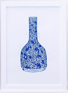 Lino Design, Vine Leaves, Urn, Three Dimensional, Vines, Contemporary Art, Blue And White, Make It Yourself, Artwork