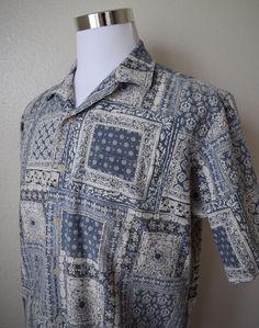 POLO RALPH LAUREN CALDWELL Men's Shirt Blue Patchwork Print Linen Blend Sz L #PoloRalphLauren #ButtonFrontShirt