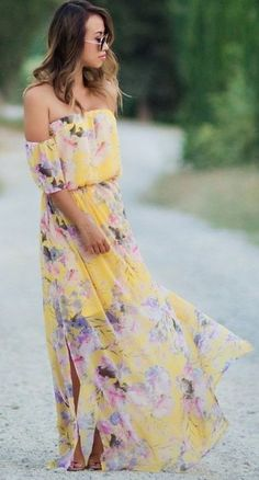 Floral OTS Maxi Dress Source