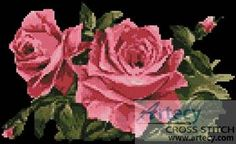 Pink Roses 1 - Flowers cross stitch pattern designed by Tereena Clarke. Category: Roses.