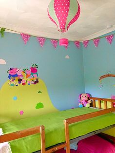 peppa pig bedroom bedrooms bunk bed mural themed nursery a1 stickers slaapkamer toddler beds decal decorations thema infantiles playroom