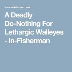 A Deadly Do-Nothing For Lethargic Walleyes - In-Fisherman