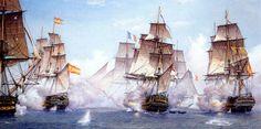 La imagen presentada representa la batalla de Trafalgar. Batalla naval llevada a cabo en Cádiz el 21 de octubre de 1805. Se enfrentó la flota británica contra la flota francesa y española. Se produjo por los planes que tenía Napoleón de conquistar Europa. Se reúnen las tropas francesas y españolas en Trafalgar. Los británicos se dan cuenta y se dirigen hacia allí con el objetivo de derrotar a Napoleón. La batalla termina con la victoria de los británicos librándose así de la invasión…