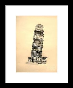 """Graphite Pencil Sketch """"Leaning Tower Of Pisa"""" Yellow Background from the art studio of Scott D Van Osdol available at fineartsamerica.com"""