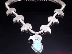 E Castillo Navajo Vintage Turquoise & Sterling Silver Bear Fetish Necklace #ECastillo