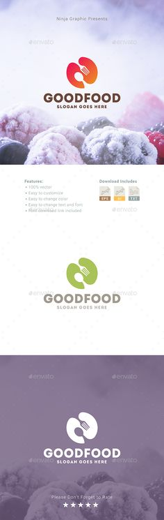 Good Food Logo: Food Logo Design Template by MadeByMakers. Food Logo Design, Logo Food, Letterhead Template, Logo Templates, Go Logo, Food Wallpaper, Wallpaper Doodle, Logos, Logo Restaurant