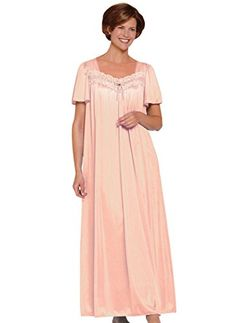 AmeriMark Women s Long Nylon Gown with Lace   Peach. Luxuriously soft and  flowing nylon knit gown. Approximate lengths  Misses - Women s f218cb820fd
