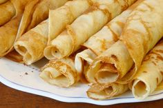 German pancakes are thin crepes, whether for rolling around fillings or cutting thin and adding to soups as a garnish.