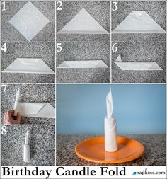 Paper Napkin Folding & Fancy Napkin Folds Birthday Candle Na… - Servietten Cloth Napkins, Paper Napkins, Fancy Napkin Folding, Folding Napkins, Paper Folding, Deco Table, Holiday Tables, Napkin Rings, Birthday Candles