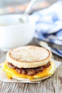 Sausage, Egg, and Cheese Breakfast Sandwich with Maple Butter Recipe on twopeasandtheirpod.com The maple butter makes this sandwich extra special!