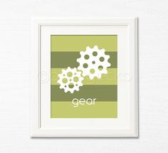 Gear - 8x10 - Science Toddler's Wall Nursery Decor - Green Kids Room Decor, Boy's Room Decor - Lab Geek, Educational, Mechanical