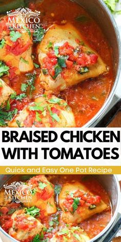 Easy flavorful one pot dish. This chicken is cooked with fresh tomato sauce. It doesn't need that many spices or herbs to render one of the most memorable stews you will ever taste! #mexicanfood #foodrecipes #chickendinner #lowcarb #chickeninapot Mexican Chicken Recipes, Cream Cheese Chicken, Braised Chicken, Delicious Dinner Recipes, Chicken Seasoning, One Pot Meals, Kitchen Recipes, Tomato Sauce, Quick Meals