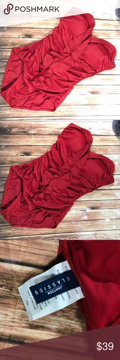 Jantzen classics red one piece ruffled swimsuit In excellent condition of shoulder one piece red swimsuit size 10 clean and washed Jantzen Swim One Pieces