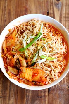 Homemade Kimchi Ramen. Check out some other mouth-watering South Korean foods at TheCultureTrip.com. Click on the image to view the full list! (http://divinehealthyfood.com/healthy-homemade-kimchi-ramen/)