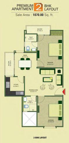 2 BHK - (1070 sq. ft.)