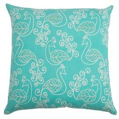 Camille Embroidered Pillow in Aqua