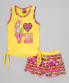 Look at this Real Love Yellow 'Love' Tie Tank & Palm Shorts - Infant, Toddler & Girls on #zulily today!