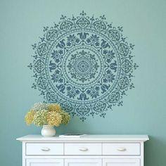 Mandala stencil design stenciled wood table mandalas                                                                                                                                                                                 More