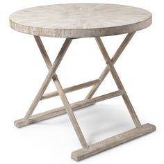 Kismet Coastal Beach Mango Driftwood Folding End Table