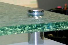 """Shown in aqua clear glass """"melting ice"""" texture. Ice Texture, Glass Countertops, Custom Glass, Modern Glass, Game Room, Home Kitchens, Clear Glass, Kitchen Remodel, Aqua"""